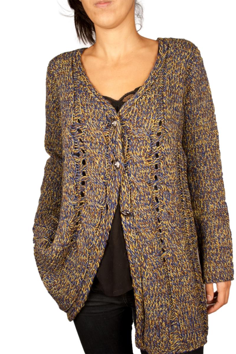 Gros gilet en laine femme pas cher cardigan with buttons - Laine pas cher en ligne ...